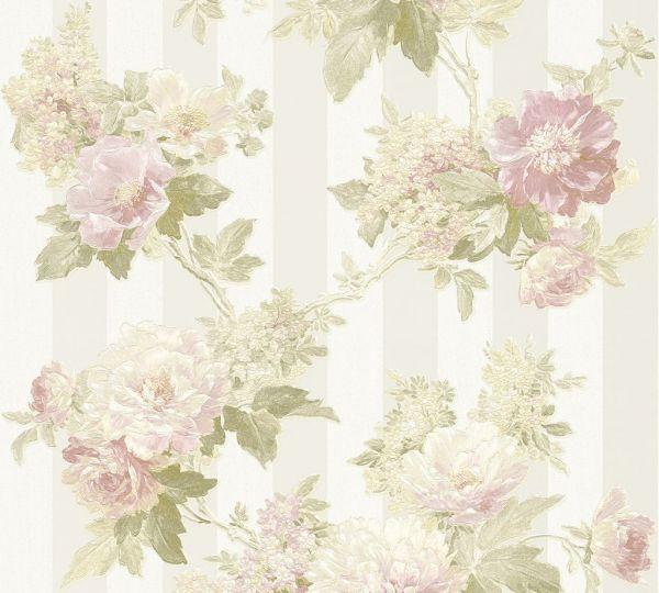 Elegante Blumen Vliestapete Streifen creme grün rosa