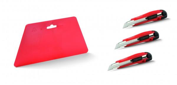 4 tgl. Set Tapetenglätter + 3x Cuttermesser