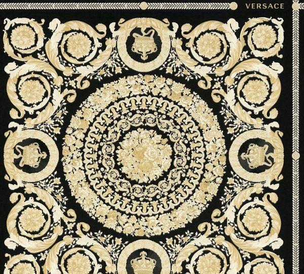 Florales Ornament Kacheln Tapete schwarz beige gold metallic Versace