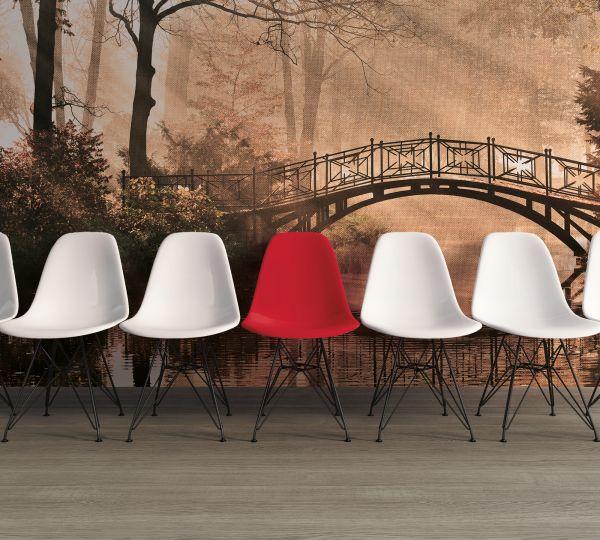 Fototapete Digitaldruck Parkbrücke im Nebel vintage 255 x 350 cm