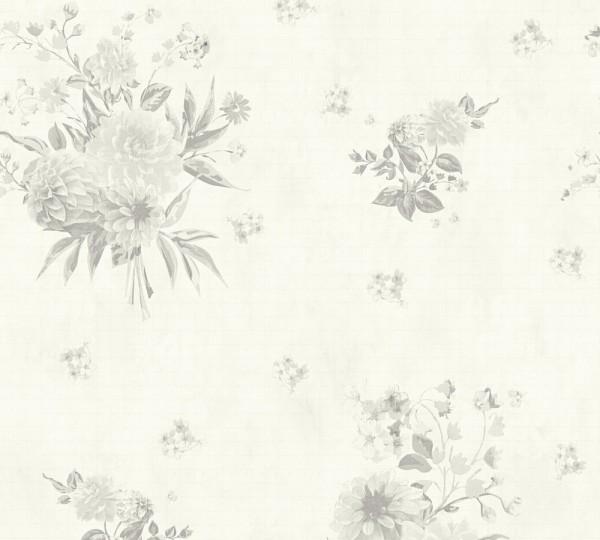Vliestapete Blumen creme grau Djooz 2