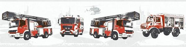 Tapeten Bordüre Kinder Struktur Feuerwehr Autos weiß rot