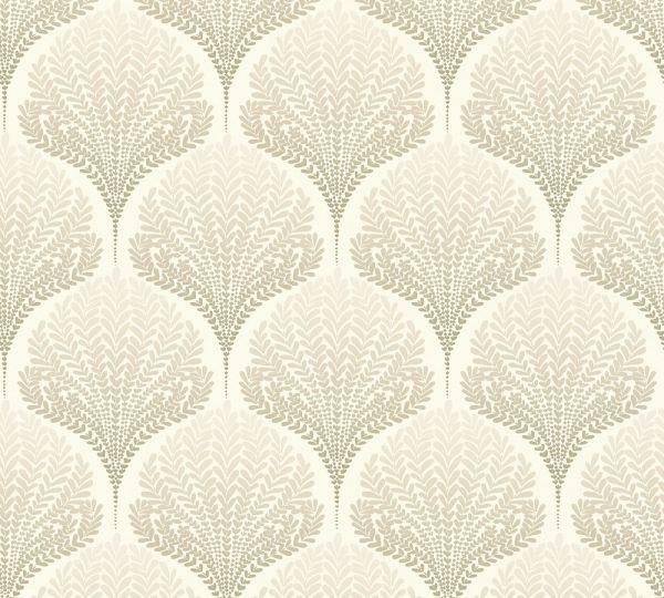 Vliestapete Retro Floral Blätter creme beige weiß