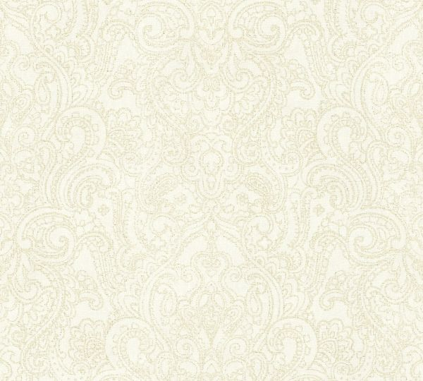 Vliestapete Boho Henna Ornament creme beige metallic