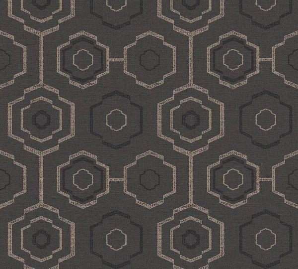 Waben Muster Vliestapete schwarz