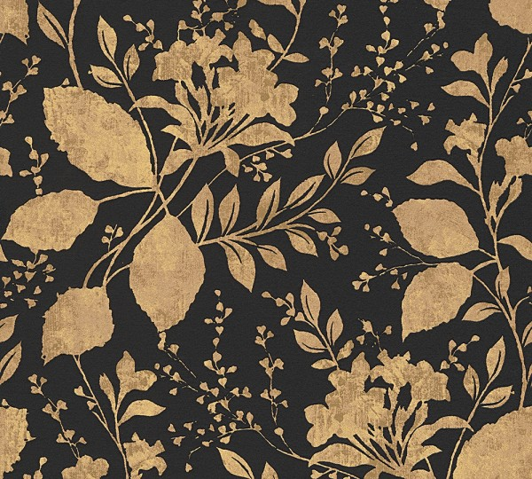 Vliestapete Floral Blätter schwarz gold glanz