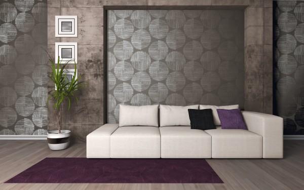 Vliestapete retro design abstrakte Kreise grau silber metallic glänzend