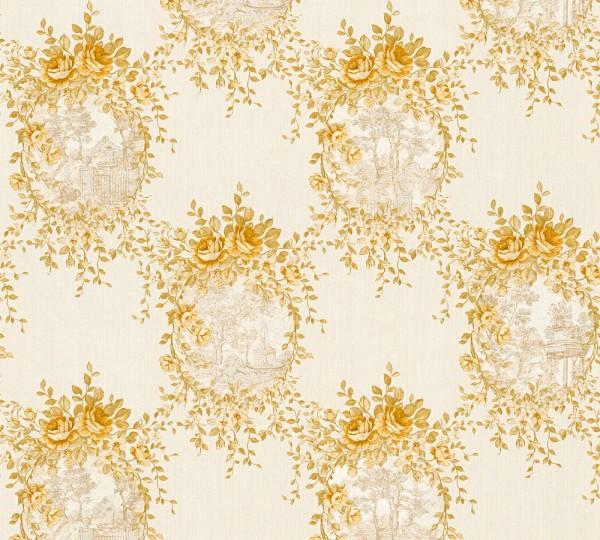 Vliestapete Blumen Landhaus creme gold Chateau 5