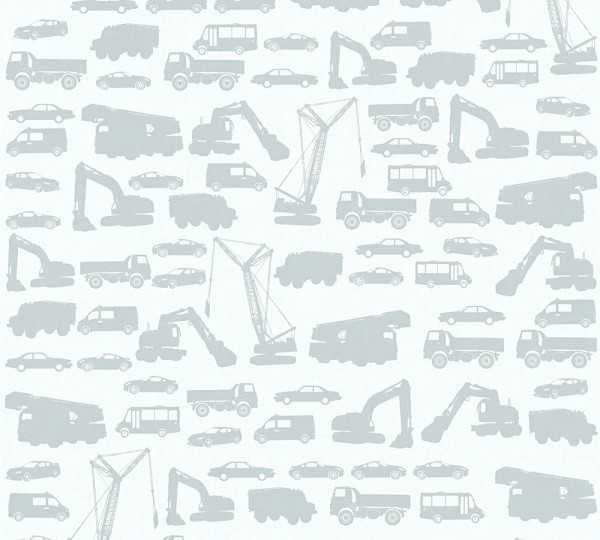 Kinder Vliestapete Bagger LKW Autos weiß grau