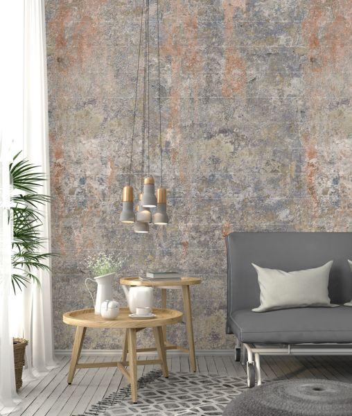 Vlies Fototapete alte Beton Blöcke Stein Mauer rost 200x280cm