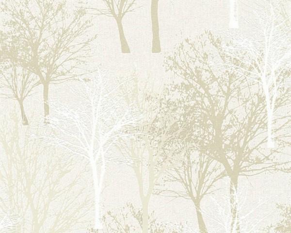 Vliestapete Bäume Natur creme weiß Elegance