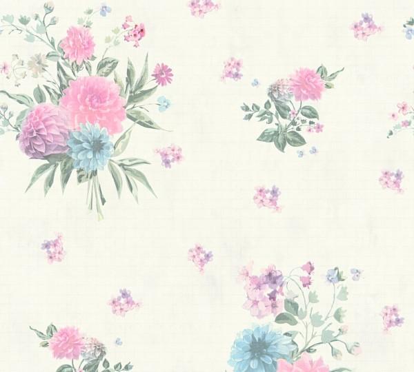 Vliestapete Blumen rosa grün creme Djooz 2