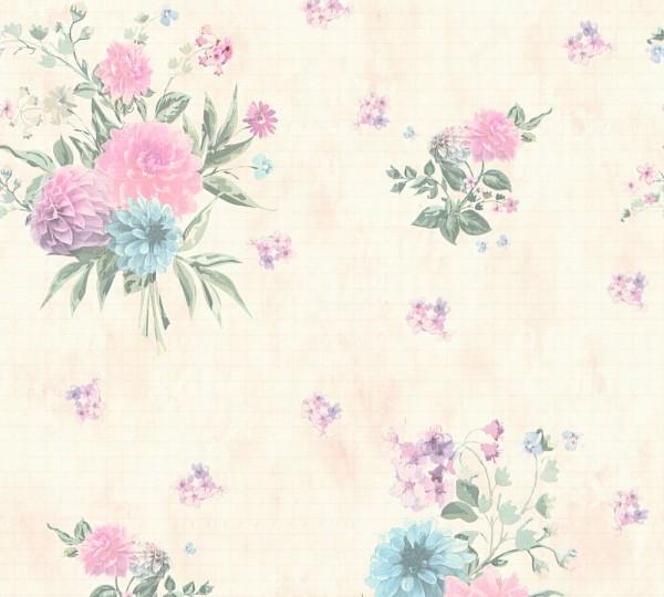 Vliestapete Blumen rosa grün beige Djooz 2