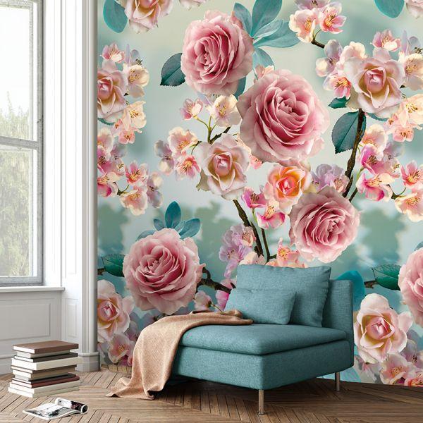 Vlies Fototapete Rosen blau türkis rosa floral Blumen 200x280cm