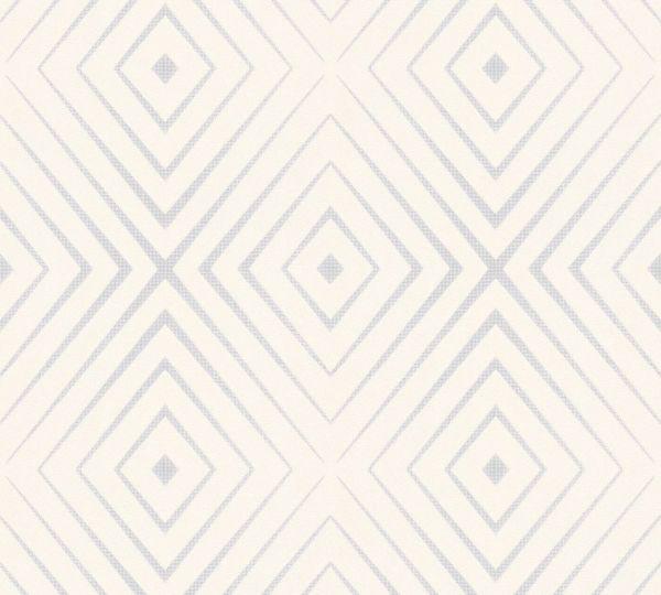 Vliestapete geometrische Rauten creme silber