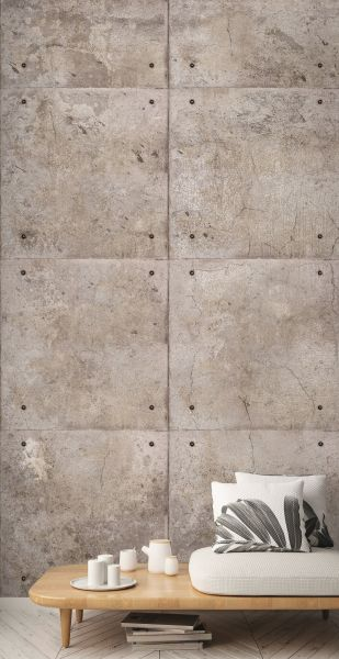 Vlies Fototapete 3D Beton Blöcke Wand grau Wandbild 1,59mx2,80m