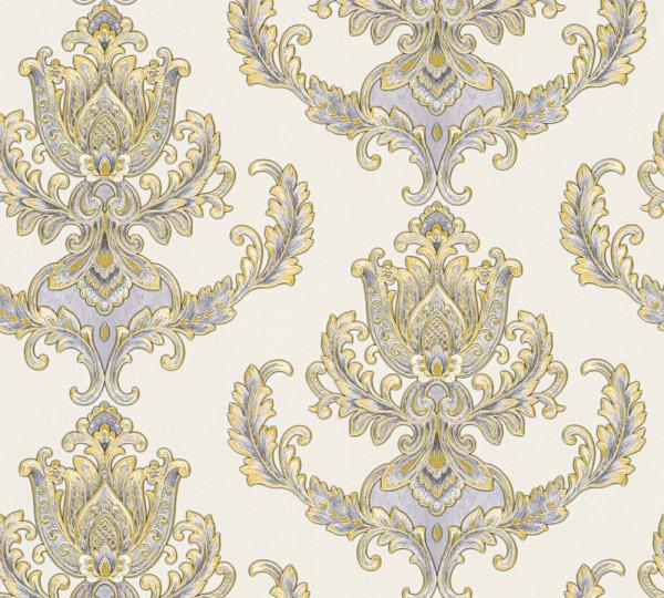 Vliestapete Floral Barock weiß gold glanz
