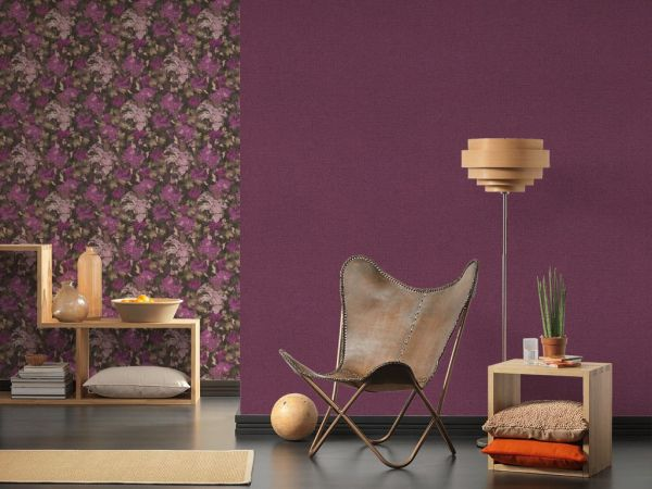 Vliestapete Uni Struktur Textil Leinen Optik violett