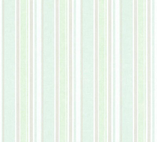Vliestapete Kinder Streifen Muster weiß mint blau