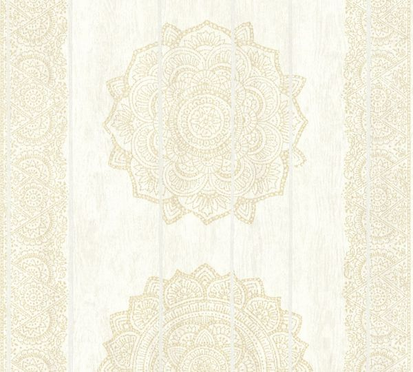 Vliestapete Mandala Holz Paneel Optik creme beige metallic