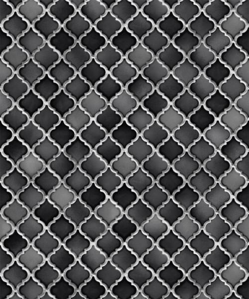 Vliestapete Keramik Mosaik Fliesen Florentiner Optik schwarz grau
