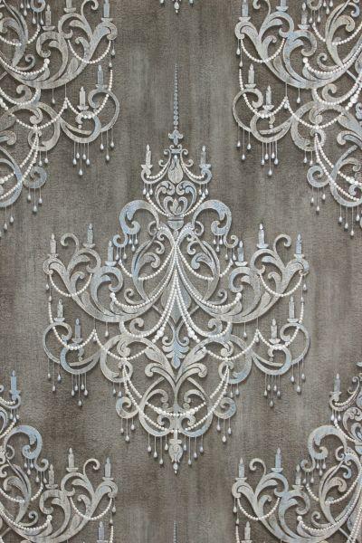 Vliestapete Kronleuchter Barock Ornament Perlen Muster klassisch kiesel grau gold