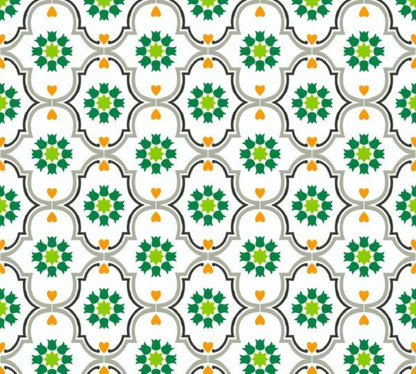 Vliestapete Ornamente Sterne Floral grün orange