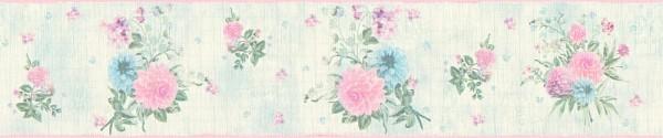 Tapeten Bordüre Blumen hellgrün rosa Djooz 2