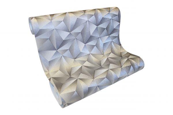 Vliestapete Design 3D Optik silber grau metallic glanz geometrisch