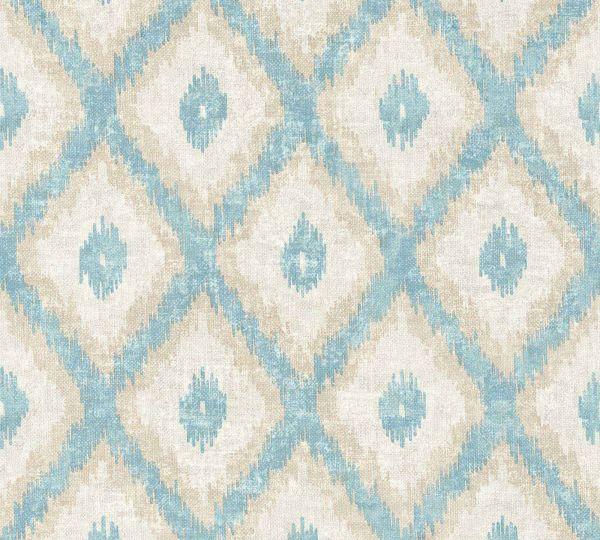 Vliestapete Ethno Muster Rauten blau beige