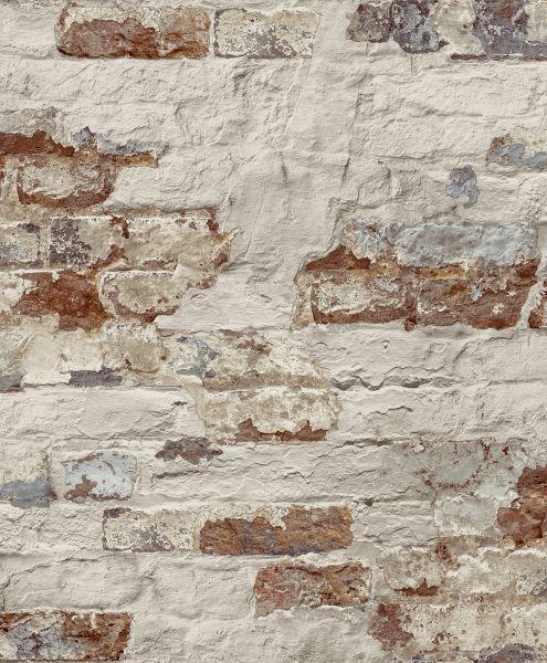 Vliestapete Beton Ziegelstein Bruchstein creme weiß rot braun Shabby