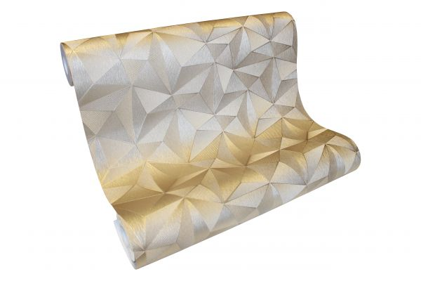 Vliestapete Design 3D Optik gold metallic glanz geometrisch