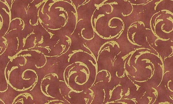 Vliestapete Barock Ornament Ranken rot gold metallic Großrolle