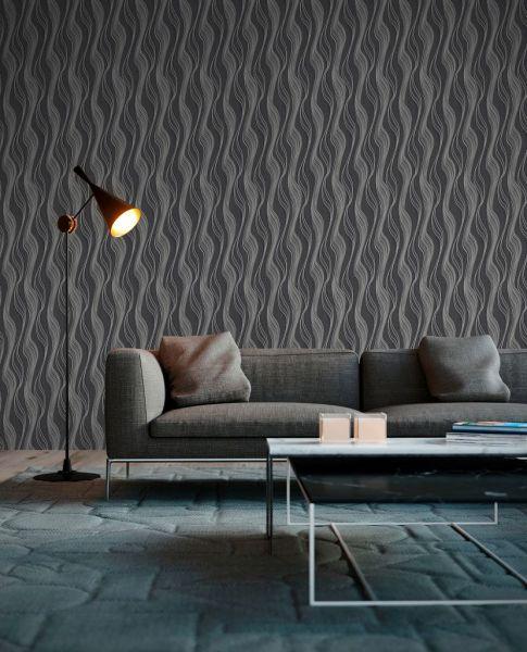 Vliestapete Struktur Linien schwarz silber metallic