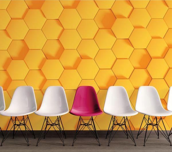 Fototapete Digitaldruck 3d Waben Muster gelb 255 x 350 cm
