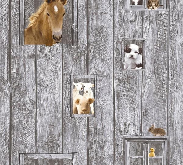 Kinder Vliestapete Bauernhof Tiere Holz grau