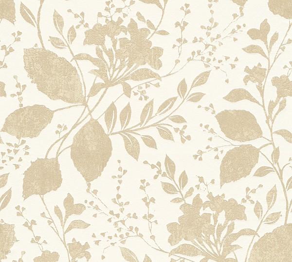 Vliestapete Floral Blätter gold beige glanz