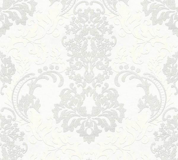Vliestapete Barock Ornament weiß silber Klara