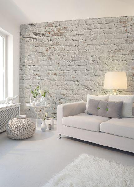 Fototapete Digitaldruck weiß graue Ziegelsteinmauer 255 x 350 cm