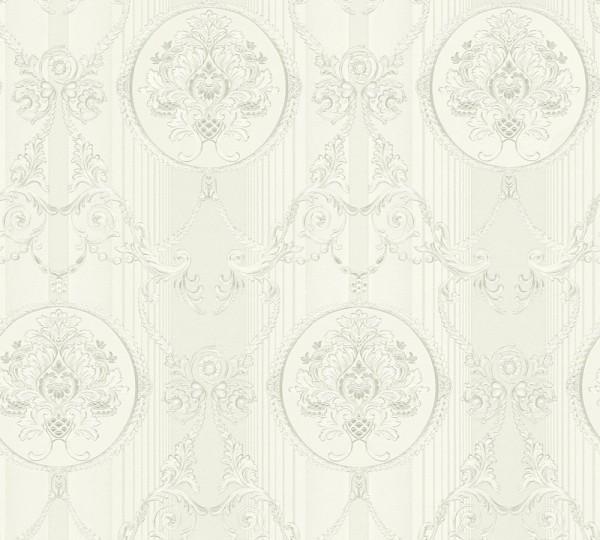Vliestapete klassischer Barock weiß metallic