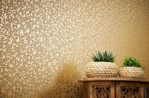 Vliestapete marokkanisches Grafik Muster gold braun metallic