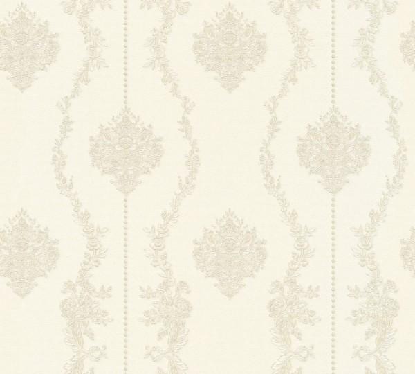Vliestapete Barock Ornament Streifen creme grau Chateau 5