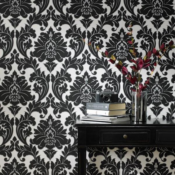 Vliestapete Barock Ornament schwarz weiß silber