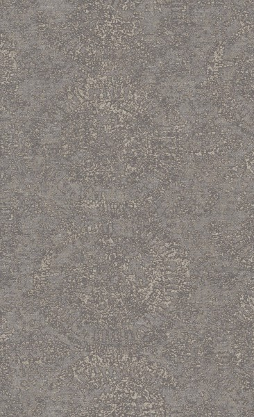 Vliestapete Textil Optik ornamentale Kreise braun grau metallic