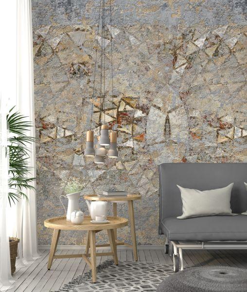Vlies Fototapete used Beton Stein Mosaik Venedig beige 200x280cm