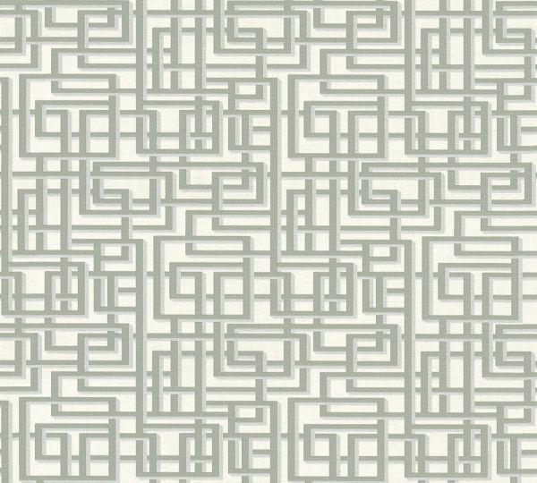 Labyrinth Grafik Vlies Tapete grau weiß