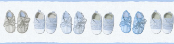 Tapeten Bordüre Baby Schuhe weiß blau