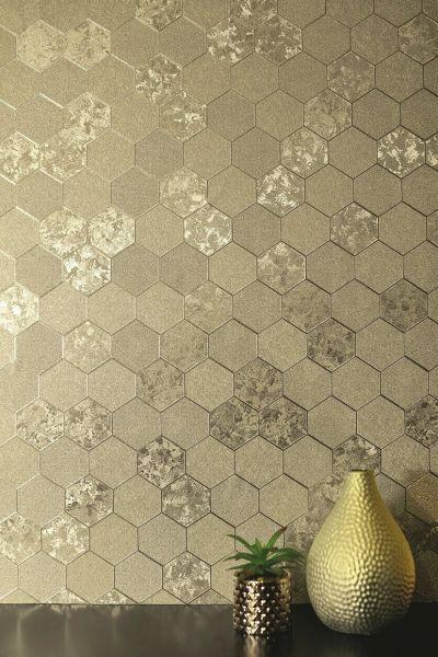 Hexagon Waben Muster Tapete champagne gold metallic schimmernd