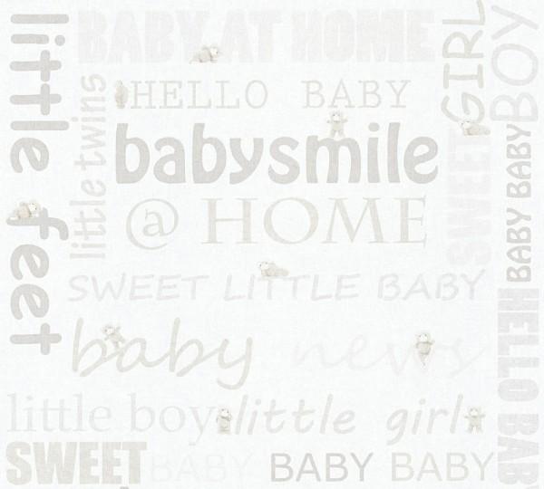 Kinder Tapete Schriftzug Baby Smile Home Teddy weiß creme