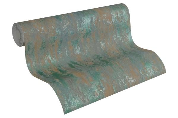 Steintapete Patina Struktur oliv grün metallic